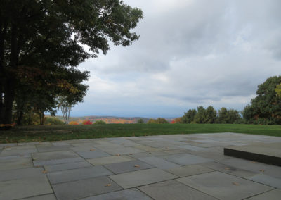 Large bluestone patio overlooking the Hudson River in Columbia County, NY